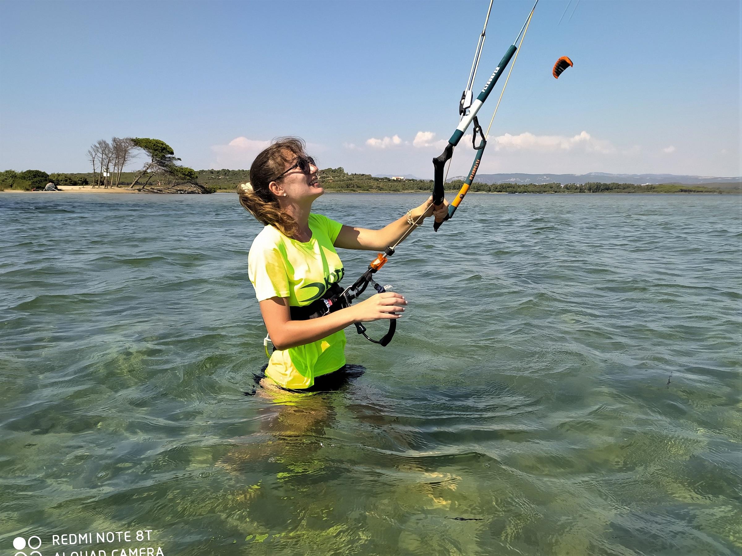 Learning Kitesurf at Punta Trettu Kite Beach with shallow and Flat Water